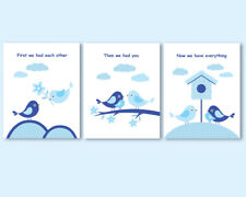 3 prints, art for boys nursery decor, First we had each other quote, blue birds