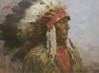 """Brule Warrior"" Z. S. Liang Western Indian Fine Art Giclee Canvas"