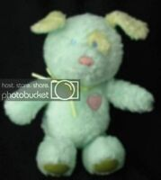 Baby Gund Rattle Green Puppy Dog Heads & Tales Toy  Heart Plush Stuffed ?