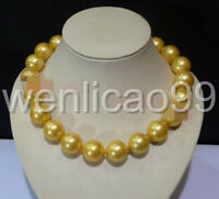 """NEW 20mm AAAA Gold South Sea Shell Pearl Round Beads Necklace 18"""""""
