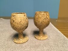 "Fossil Goblets Wine Glasses Stands 5"" Tall"