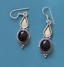 """1.75"""" DROP ONYX STERLING SILVER PLATED LOVELY EARRINGS, LUUUUV ONYX!"""