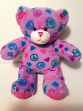 "Build A Bear Lavender Peace Sign Bear Soft Plush Stuffed Toy 16"" Ages 3+"