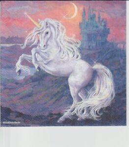 3 lose Servietten ~ Fantasy Unicorn weißes Einhorn Pferd Schloß