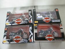 4 Maisto Harley Davidson Motorcycles 1/18 with New York Police and Fatboy