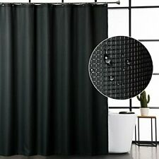 Caromio Black Fabric Shower Curtain, Hotel Quality Waffle Weave Textured Fabric