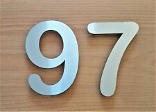 """Large 6""""/15cm stick-on rounded house/door numbers 2mm brushed stainless steel"""
