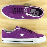 Converse One Star Pro Ox Purple White Nubuck Cons Skating Shoes 161523C Size