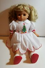 "Pottery Barn? 18"" Soft Doll Blonde Pigtails & Sleepy Blue Eyes - Christmas Dress"