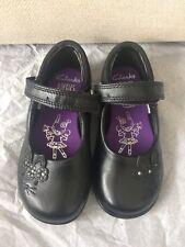 New Clarks Girls School Shoes Black Real Leather Trixi Run Strap 7 G UK 24 W EU