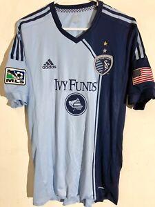 Adidas Authentic MLS Jersey Kansas City Sporting Team Light Blue sz L