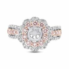 14K White Gold Fancy Pink Diamond Round Semi Mount Engagement Ring Setting 1.4CT