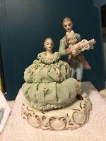 "Irish Dresden Porcelain Lace Figurine ""Love Story"" Couple *Broken Guitar*"