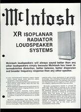 Rare Factory McIntosh XR 3 5 6 7 Isoplanar Radiator Speakers Dealer Brochure