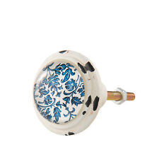 Clayre & Eef muebles botón, botón, mango, pomo, Shabby crema blanco azul