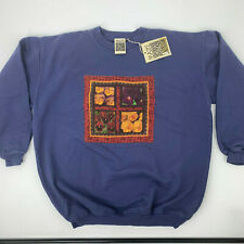 Vintage Pansy Quilt Sweater Adult L Purple Long Sleeve Pullover 1995 Deadstock