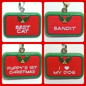 GANZ Christmas Pet Tags Charms Dog Cat Names Phrases Pick Name Green Red NWT JB