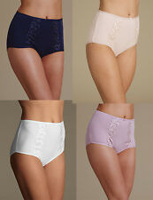 LADIES MARKS & SPENCER M&S FULL BRIEFS Cotton Rich Embroidered High Rise KNICKER