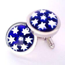 Blue White Star Murano Millefiori Round Glass & Silver Inlay Chunky Cufflinks.