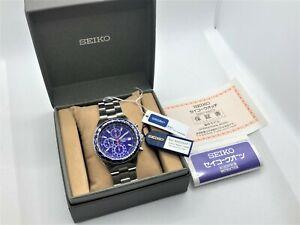 Unused SEIKO Pilot Flightmaster Chronograph 100M Men's Wristwatch Blue 7T92-0CF0