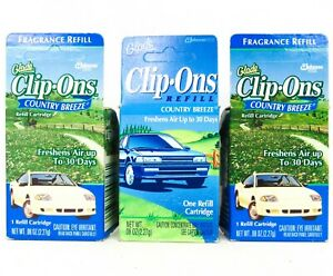 Vintage Glade Car Cilp-Ons Auto Home Air Freshener 3 Pack Country Breeze Scent