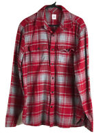 Gap Cotton Flannel Button Up Shirt Mens Large Red Gray Plaid Long Sleeve Euc