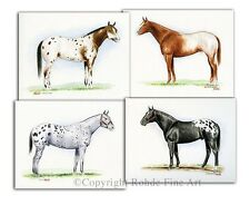 APPALOOSA HORSE ART SET of 4 - FAMOUS STALLIONS - equine paintings western Rohde