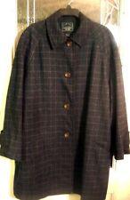 Lauren Ralph Lauren Wool Gray Plaid Coat Long Jacket XL 1X