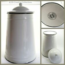 Romanian Enamelware XLarge Canister with Lid, Green & Cottage Cream ,Ex Display