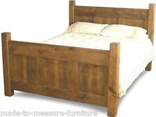 "NEW SOLID WOOD CHUNKY RUSTIC PLANK PINE 60"" KING SIZE BED and slats for mattress"