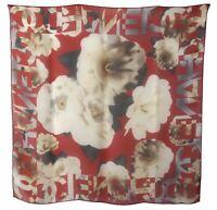 CHANEL Red Camellia CC Logo Silk Chiffon Mousseline Scarf
