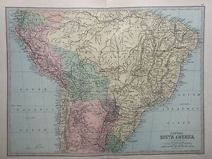 1885 Central South America Antique Map by John Bartholomew & George Philip