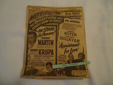 Gene Krupa Ace Drummer man Metropolital Theater concert BOSTON 1941 newsprint ad