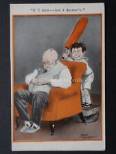 Cricket Theme IF I DARE - BUT I DARESN'T!!! c1930 Comic Postcard by Fred Spurgin