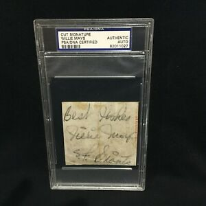 WILLIE MAYS GIANTS SIGNED 3X3 CUT VINTAGE AUTOGRAPH AUTO INSCRIPTION PSA/DNA