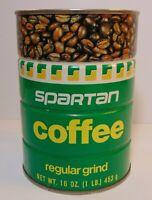 New Old 1970s SPARTAN COFFEE GRAPHIC TIN 1 POUND GRAND RAPIDS MICHIGAN STATE MSU