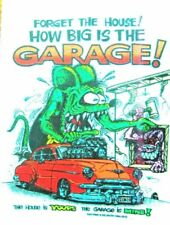 Rat Fink HOW BIG IS THE GARAGE Decal Sticker Hot Rod Car  Man Cave Drag Strip