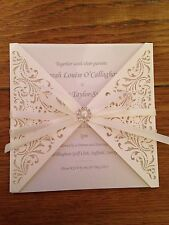 Personalised Beautiful Vintage Laser Cut Gem Ivory Lace Wedding Invitations Set