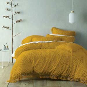 Savannah Mustard Quilt Doona Duvet Cover set, Bianca, Super soft cotton chenille