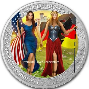 2019 Germania & Columbia Allegories 1 Ounce Pure Silver Colorized Coin!!!!!
