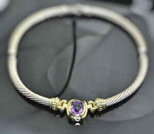 "David Yurman 14K Gold & Sterling Amethyst 7mm Cable Collar 16"" Choker Necklace"
