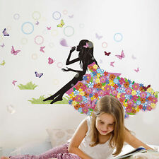 Floral Fairy Girl Blow Bubbles Wall Sticker Mural Vinyl Decals Kids Room Decor