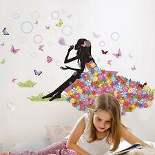 Floral Fairy Girl Blow Bubbles Wall Sticker Mural Vinyl Decals Kids Room Decor