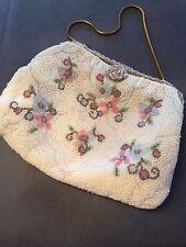 SALE: Vintage French Purse, Handmade 1950's Seed Bead Evening Handbag