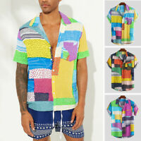 Men's Hawaiian Shirts Vintage Printed Short Sleeve T Shirt Party Collar Tee Tops