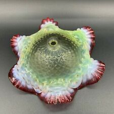 Antique Victorian Hand Blown Hobnail Opaline Glass Top Centerpiece Epergne Bowl