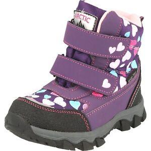 Antartica Mädchen Schuhe warme Boots Stiefel Klett X10152 gefüttert Lila Herz