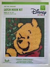 "NEW LATCH HOOK KIT DISNEY HOME POOH CHRISTMAS SIZE 13"" X 13 "" WP0008 CARON"