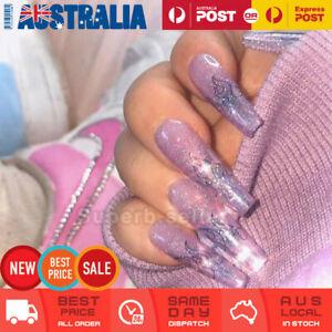 24pc Extra Long Purple Glitter Fake Nail Tips Glue On False Press On Artificial