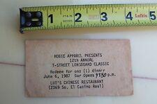 Hobie T-Street Longboard Surfing Classic Surfboard 1987 Vintage Event Ticket